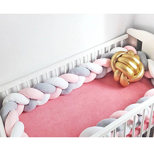 "Infant Soft Pad Braided Crib Bumper Knot Pillow Cushion Cradle Decor for Baby Girl and Boy (White-Rose-Grey, 118"") from HAHASOLE"