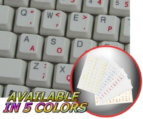 DVORAK SIMPLIFIED KEYBOARD STICKERS WITH RED LETTERING TRANSPARENT BACKGROUND by 4Keyboard