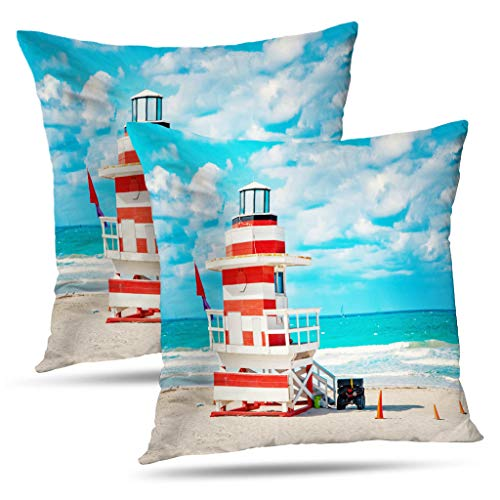 Kutita Set of 2 Sunshine Art Decorative Pillow Covers South Beach Florida House Colorful Art Deco Red and StyleThrow Pillow Case Cushion for Sofa Living Room 18X18 Inch ()