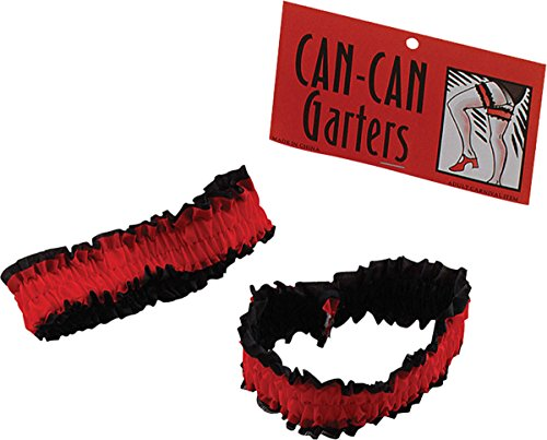 [Ladies Fancy Dress Party Sexy Moulin Rouge Red & Black Can Can Garters Pack Of 2] (Moulin Rouge Costumes)