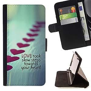 Momo Phone Case / Flip Funda de Cuero Case Cover - Amor Pasos de San Valentín Línea Metal Heart - Samsung Galaxy J3 GSM-J300