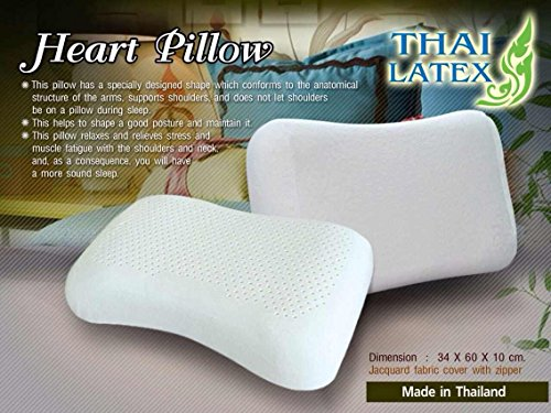 2 X Packs Green Health 100% Natural Latex Pillows Hypoallergenic Natural Latex Foam / Jacuard Fabric Cover with Zipper (Made in Thailand) - Heart Shape Pillow by THAI LATEX