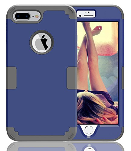 JDBRUIAN Shield Series Heavy Duty Hybrid Hard PC Soft Silicone Combo Hybrid Defender High Impact Body Armor box Case Compatible iPhone 7 plus iPhone 8 plus Dark Blue/Gray (Best Lan Box Case)