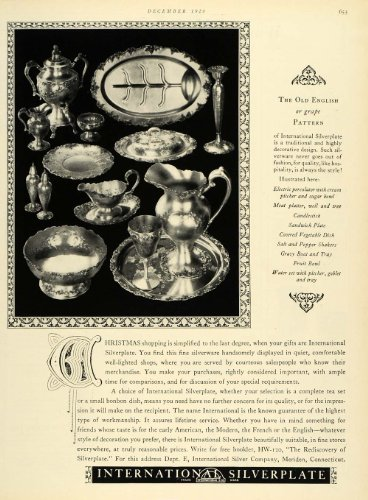 1928 Ad Old English Pattern Electric Percolator Bowl International Silverplate - Original Print (International Vintage Silverplate)