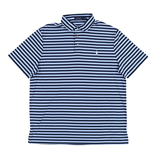 Polo Ralph Lauren Men's Classic Fit Pony Logo Striped Polo Shirt (Navy Blue/Blue/White, Large)