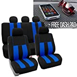 2004 4runner dash cover black - FH GROUP FH-FB036115 Striking Striped Seat Covers, Blue / Black with FH GROUP FH1002 Non-slip Dash Grip Black Pad Mat - Fit Most Car, Truck, Suv, or Van