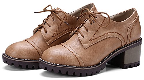 Oxfords Medium Heel Toe Round Low Retro Lace Platform Block Women's Brown up Top Mofri Shoes xB4qZW
