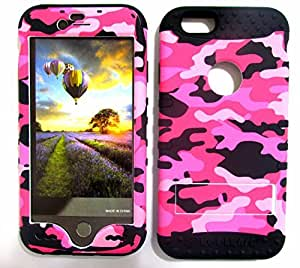SHOCKPROOF HYBRID CELL PHONE COVER PROTECTOR FACEPLATE HARD CASE AND BLACK SKIN WITH STYLUS PEN. KOOL KASE ROCKER FOR APPLE IPHONE 6 CAMO BK-TE518 by runtopwell