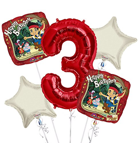 jake and the Neverland Pirates Balloon Bouquet 3rd Birthday 5 pcs - Party Supplies (Pirate Balloon Bouquet)