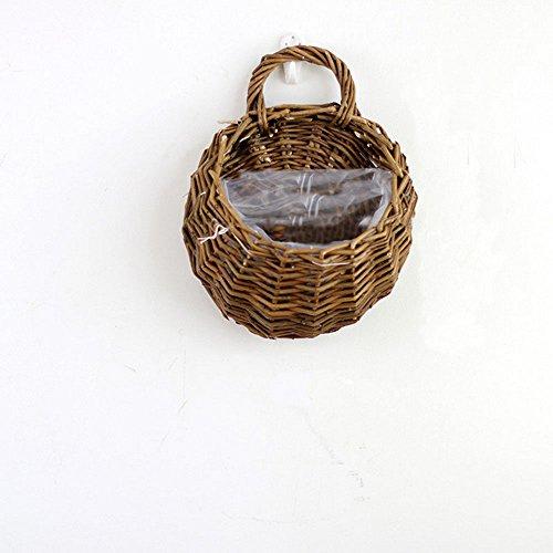 TEKEFT Artificial Hanging Wall Flower Basket for Home, Wedding, Restaurant and Office Decoration Arrangement (SMALL, Brown)