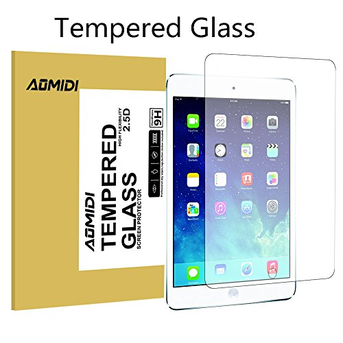 iPad Mini Screen Protector, AOMIDI Tempered Glass Screen Protector for Apple iPad Mini 1 2 3, 0.3MM Thickness, 2.5D Round Edge, High Definition, 9H Hardness (CLEAR, 1 Pack)