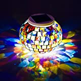 Sammid Christmas Color Changing Solar Glass Night Light, Rechargeable Mosaic Glass LED Decoration art Home Patio Garden Lights