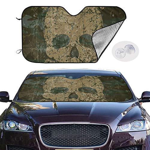 - QBahoe Camo Skull Crossbones Rusty Grunge Style Car Windshield Sun Shade Blocks UV Rays Sun Visor Protector Sunshade to Keep Your Vehicle Cool