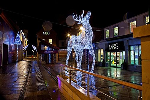 9.5' Commercial Size White Reindeer Lighted Christmas Yard Art Decoration by Northlight