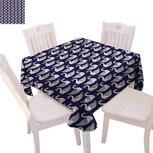 cobeDecor Swan Dinner Picnic Table Cloth Pale Pink Waterfowls with Princess Tiaras Graceful Fauna Artistic Animals Waterproof Table Cover for Kitchen 70