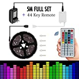 Led strip lights 5050 16.4ft/5m Flexible Led strip Changing RGB TOPMAX NON-Waterproof Lighting with 44keys Remote Cotroller and 12V 3A Power Adapter
