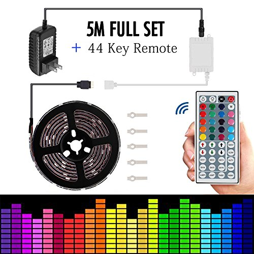 Led strip lights 5050 16.4ft/5m Flexible Led strip Changing RGB TOPMAX NON-Waterproof Lighting with 44keys Remote Cotroller and 12V 3A Power Adapter by TOPMAX (Image #6)