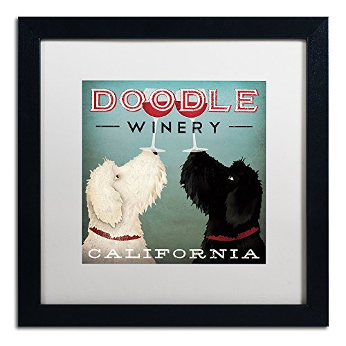 Ad Canvas Frame - Doodle Wine Artwork Ryan Fowler in White Matte and Black Frame, 16 by 16-Inch
