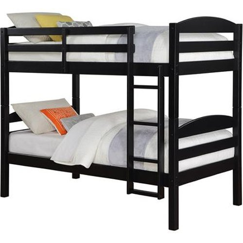 Solid Wood Twin Bunk Bed Twin Over Twin in Black By