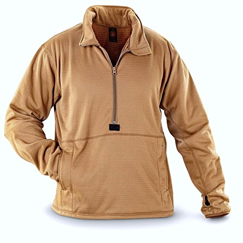 Chest Pocket Fleece Pullover - Peckham USMC Issue Military Polartec Grid Fleece Pullover Coyote Brown (Large)