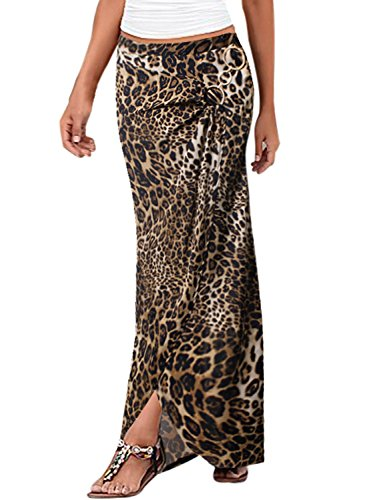 VfEmage Womens Summer Ruched High Waist Slit Casual Beach Long Skirt 9206 Leo 12 (Leopard Print Pencil Skirt)