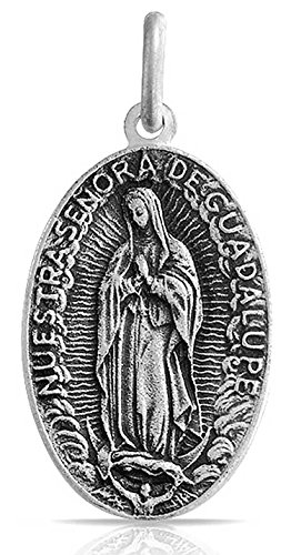 Sterling Silver Medallion Pendant (Our Lady of Guadalupe Antique Style Medallion Sterling Silver Pendant)