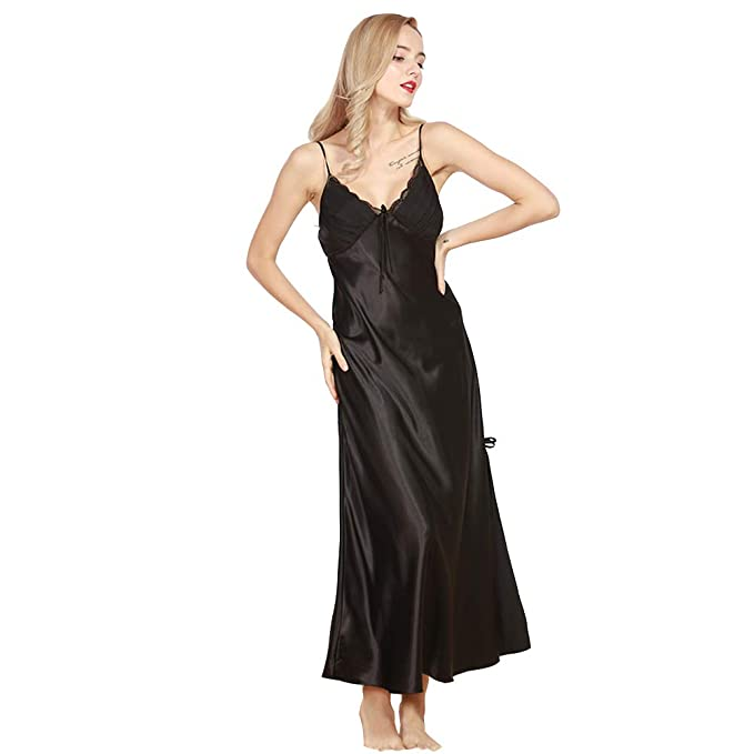 46e5bb89db848 Women's Ladies Long Satin Nightdress Nightie Deep Lace Trimmed Plus Size  Nightwear Sleepwear Black M