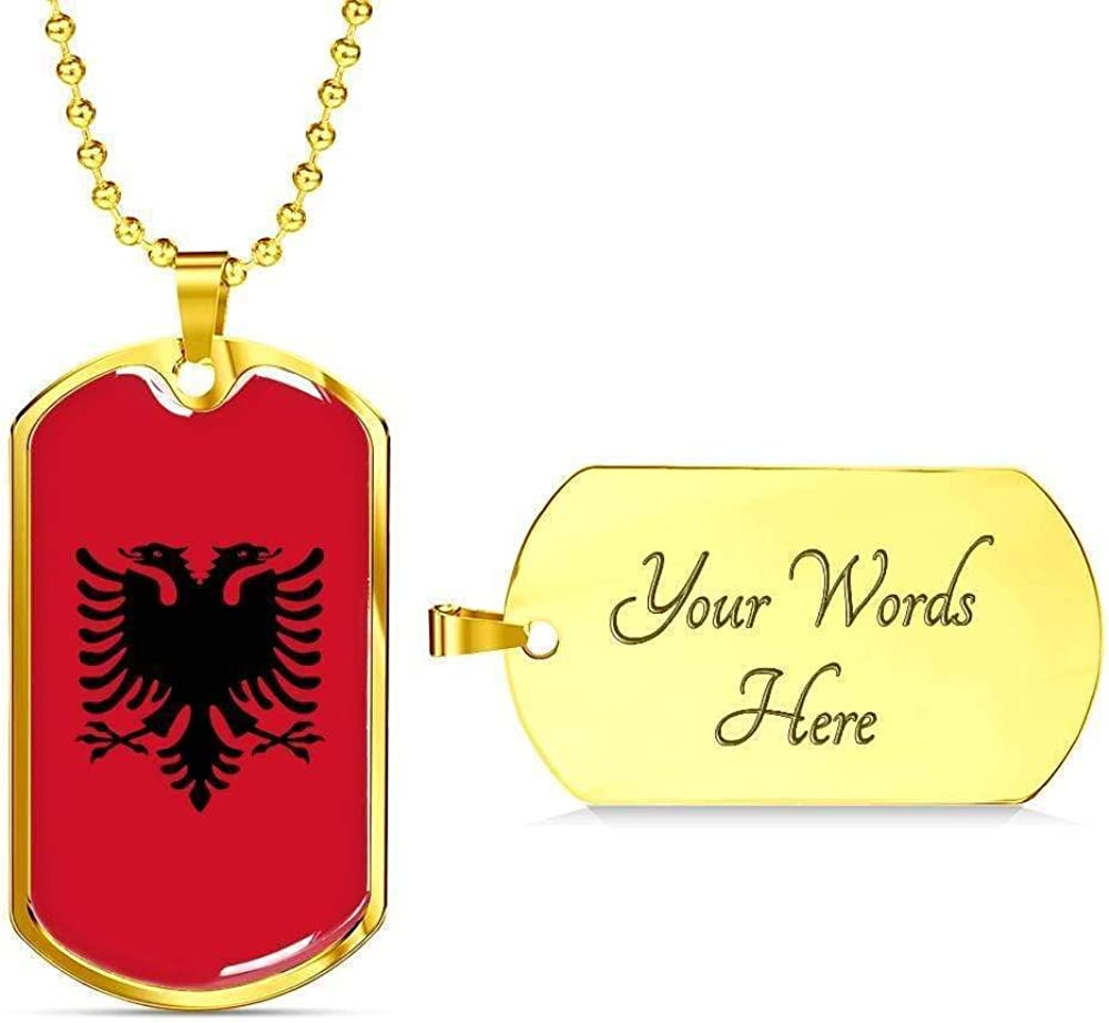 Albania Flag Love My Country Handmade Necklace Stainless Steel or 18k Gold Dog T