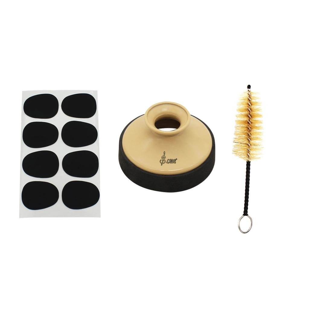 Homyl 1 Pack Sax Mute Sourdine with Mouthpiece Patches Pads Brush for Alto Saxphone Replacement Parts