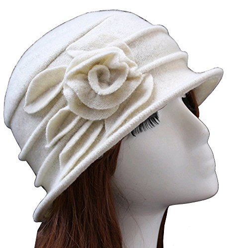 Urban CoCo Women's Floral Trimmed Wool Blend Cloche Winter Hat (white-Model (Wool Hat Patterns)