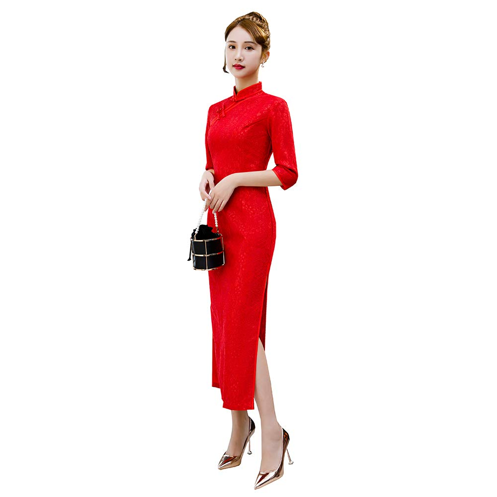 Chinese Style Shanghai Story Long Sleeve is Vintage Elegant Classic lace Cheongsam Velvet Long Cheongsam(XXX-Large,Red)