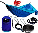 Chill Gorilla Double Hammock with Tree Straps. Perfect for Backpacking Camping Travel Beach Yard. Portable Parachute Hammock. Easy to Setup. 126' x 78' Lightweight Ripstop Nylon. Blue