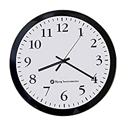 Bjerg Instruments Modern 12 Steel Enclosure Silent Wall Clock with Non Ticking Movement (Black)