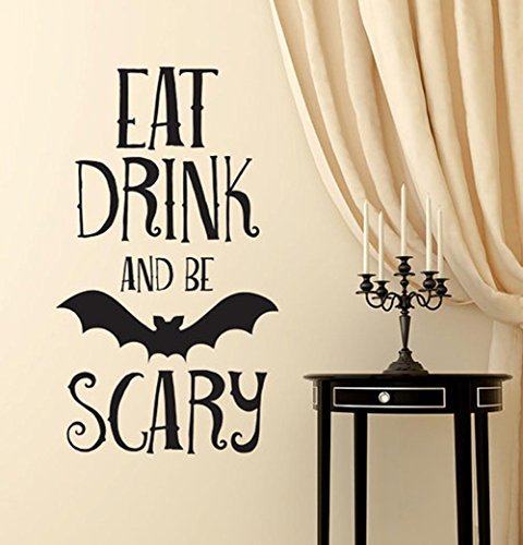 BIBITIME Halloween Vinyl Bat Decal for Wall Sticker Sayings Words EAT DRINK AND BE SCARY Quotes for Living Room Home Party PVC Decorations Art Mural Shop Showcase Decor]()