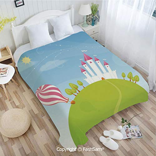 PUTIEN Super Soft Blankets for Couch Bed Birthday Fantasy Castle on Top of The Hills and Hot Air Balloon in Sunny Sky Day Kids Art for Fun Playroom - Planes Skies Crimson