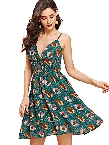 Cami Trim Ruffle (Milumia Women's Bohemian Floral Tassel Trim Ruffle Hem Spaghetti Strap Cami Dress Large Green)