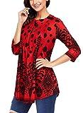 Women Short Sleeve Dress Tops 3/4 Sleeve Tunic Tops Casual Loose Blouse