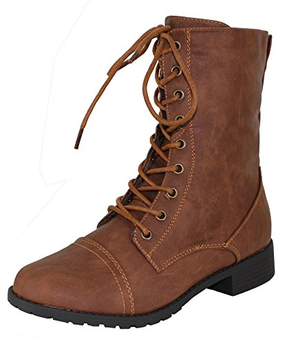 (Forever Link Womens Mango Round Toe Military Lace up Knit Ankle Cuff Low Heel Combat Boots Tan 7.5 B(M))