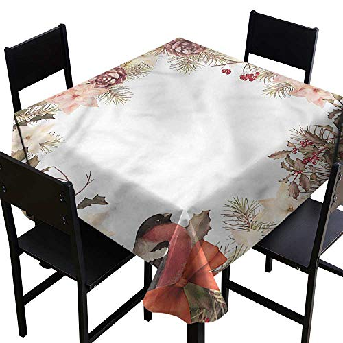 home1love New Year Washable Square Tablecloth Bullfinch with Cedar for Events Party Restaurant Dining Table Cover 60 x 60 Inch