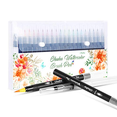 Watercolor Brush Markers Pen, Ohuhu 20 Colors Water Based Drawing Marker Brushes W/A Water Coloring Brush, Water Soluble for Adult Coloring Books Manga Comic Calligraphy, Back to School Art -