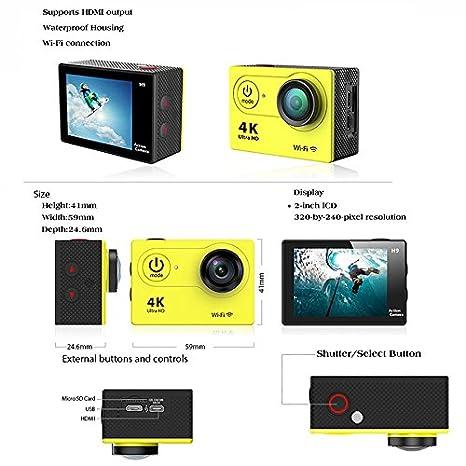 Eken H9 Cámara de acción Ultra HD 4K WiFi, impermeable a 30 ...