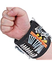 Rovtop Magnetic Wristband with 15 Powerful Magnets Magnetic Tool Wristband Tool Belt for Holding Tools, Screws, Nails, Bolts, Drill Bits and Small Tools, Special Gift for DIY Handyman,Men, Women