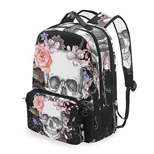 JOYPRINT Detachable Travel School Backpack Sugar Skull Flower Halloween, Shoulder Bag Daypack for Boys Girls Men Women -
