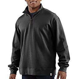 Carhartt Men \'s Knit quarter-zip relaxed-fit Pullover,Black,Medium