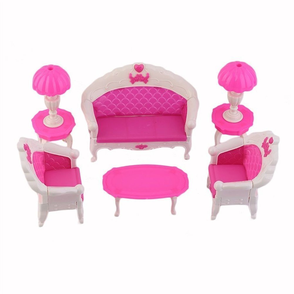 Furniture Toy Set - SODIAL(R) 8Pcs Toys Barbie Doll Sofa Chair Couch Desk Lamp Furniture Set Disassembled
