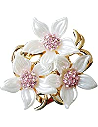 Merdia Brooch Pin for Women Flowers Brooch with Created Crystal Purple 29.8g HYpxj