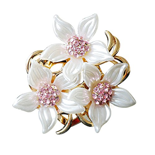 Merdia Brooch Pin for Women and Girls Stylish Flowers Brooch with Created Crystal 17.6g