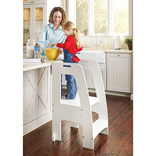 Guidecraft Step Up Kitchen Helper - White: Adjustable Height Wooden Safety Rails Cooking Step Stool For Kids, Little Chef Learning Furniture