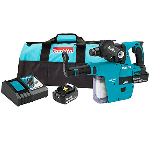 Makita XRH011TX 18V LXT Lithium-Ion Brushless Cordless 1'' Rotary Hammer Kit, Accepts Sds-Plus Bits, w/Hepa Vacuum Attachment (5.0Ah), by Makita
