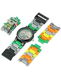 LEGO Nexo Knights Aaron Kids Minifigure Link Buildable Watch | green/orange | plastic | 28mm case diameter| analogue quartz | boy girl | official